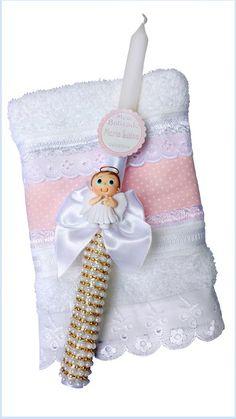 Vela decorada para Batizado com toalha.