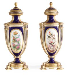 A PAIR OF COALPORT BLUE-GROUND VASES AND COVERS<br>CIRCA 1870 | Lot | Sotheby's