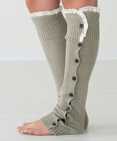 Look at this #zulilyfind! Light Gray Lace-Trim Button-Down Leg Warmers by PeekABootSocks #zulilyfinds