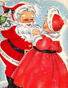 fete noel vintage gifs images - Page 15 Images Vintage, Vintage Christmas Images, Retro Christmas, Vintage Holiday, Christmas Pictures, Vintage Cards, Christmas Kitten, Christmas Decor, Old Time Christmas
