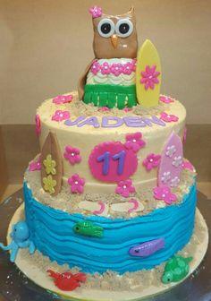 Owl Luau Birthday cake