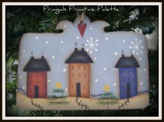 Primitive Saltbox House Christmas Tree Ornament-Terrye French design