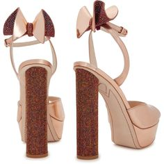 Sophia Webster Raye rose gold leather platform sandals (£515) ❤ liked on Polyvore featuring shoes, sandals, block heel sandals, leather strap sandals, rose gold sandals, platform shoes and platform sandals