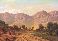 Tinus de Jongh - Cederberg Mountains in South Africa, oil in canvas, 45 x 64 cm. Africa Painting, Africa Art, Acrylic Painting Trees, Oil Painting On Canvas, Sky Landscape, Landscape Paintings, Your Paintings, Beautiful Paintings, Oil Pastel Colours