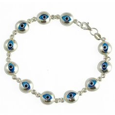 jewelry with meaning | Buy Evil Eye Bracelet Sterling Silver and Blue Italian Murano Glass ...