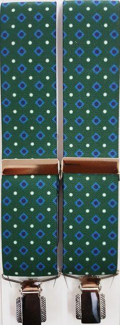 Rombos verde pinza sencilla plateada