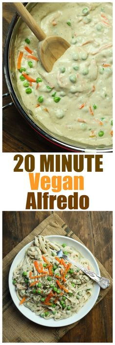 20 Minute Vegan Alfredo. Just 8 ingredients to WOW your guests with this alfredo. You won't even believe how incredibly delicious, creamy and rich this alfredo sauce is. It's better than ANY dairy alfredo I've had and this one is HEALTHY and oil-free and gluten-free!