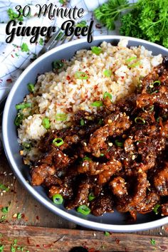 Thinly sliced beef, fried until crispy, and coated in a garlic and ginger sauce; 30 Minute Ginger Beef is an expensive dinner the whole family will love! Beef Recipes For Dinner, Meat Recipes, Asian Recipes, Cooking Recipes, Chinese Recipes, Asian Foods, Recipies, Oriental Recipes, Chili Recipes