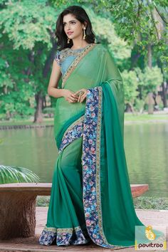 Green Color Plain Double Shaded Saree #PartyWearSaree #Sareeforfunctionandoccasion #IndianPartyWearDesignerSaree #Latest2016PartyWearSareecollection More: http://www.pavitraa.in/catalogs/impressive-heavy-sarees-for-party/?utm_source=hp&utm_medium=pinterestpost&utm_campaign=30july