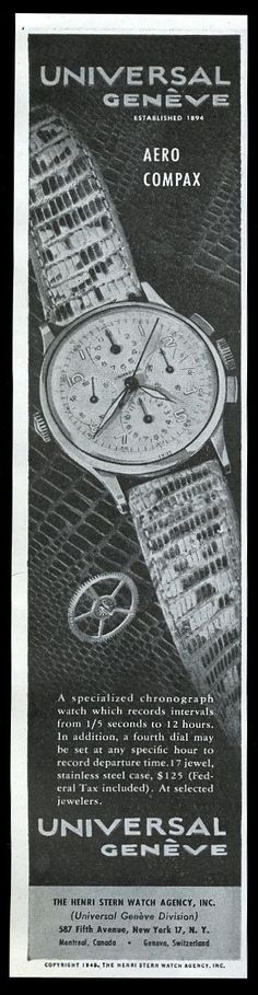 1946 Universal Geneve Aero Compax Watch Photo Vintage Print Ad. #universal #universalgeneve #aerocompax #compax #cool #watch #ads #vintage #watches #stawc