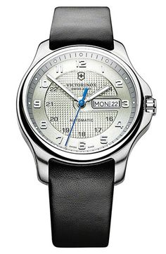 Victorinox Swiss Army® 'Officer's' Automatic Leather Strap Watch available at Nordstrom