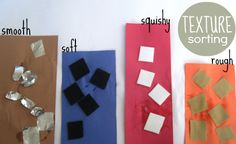 Gather your materials. You will need a large piece of paper ( a brown grocery bag cut open and laid flat would be awesome), some construction paper, materials with different textures ( I am using sandpaper, felt, foam and foil) , scissors and glue.  Cut the different textures into small pieces and throw into a bowl.  glue similar pieces together.