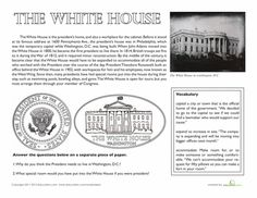 Worksheets: The White House Facts Amelia & Eleanor Go For A Ride Correlation from basal (go with White House tour) 4th Grade Social Studies, Social Studies Worksheets, Free Printable Worksheets, Worksheets For Kids, Free Printables, White House Washington Dc, Work Folders, Patriotic Symbols