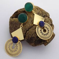 Jewellery New Vermeil Gold Plating Designer Earring, Filigree Earring, Lapis Lazuli Earring, Onyx Earring, Hol India Jewelry, Unique Jewelry, Jewelry Gifts, Jewelery, Silver Jewelry, Jewelry Accessories, Trendy Accessories, Glass Jewelry, Wire Jewelry