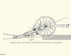 Vintage engraving of a Creusot quick-firing field gun, or Long Tom. Free Illustrations, Toms, Vintage, Vintage Comics