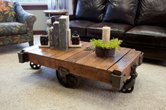 This unique coffee table brings new life to a vintage industrial shop cart.