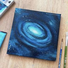 Simple Canvas Paintings, Small Canvas Art, Mini Canvas Art, Acrylic Art Paintings, Awesome Paintings, Wall Paintings, Watercolor Paintings, Galaxy Painting Acrylic, Moon Painting