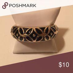 Fashion Bangle Black/Gold CZ & Enamel Bangle Jewelry Bracelets