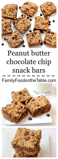 Peanut butter chocolate chip snack bars - a delicious whole grain cookie bar! | Family Food on the Table