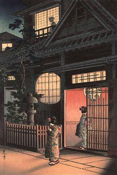 Japanese Art Print Teahouse at Night otsuya Araki