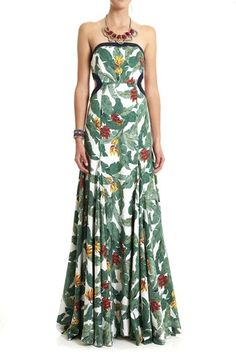 Right - so who wants to buy this Lisa Ho Banana Palm Print Strapless Gown for me? Pretty please?