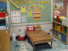 """Create this writing center on a much smaller scale for your """"little writer"""" at home to support their literacy growth.  Stock a favorite spot with all of your child's favorite writing supplies.  This is an example of a QUALITY kindergarten or First Grade classroom supporting literacy."""