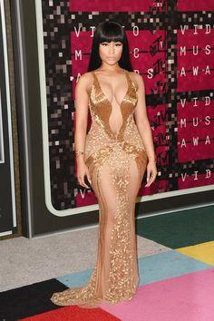 Nicki Minaj Beaded Dress - Nicki Minaj was a gold-clad bombshell at the MTV…
