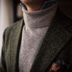 Denim shirt + turtleneck + blazer #Elegance #Fashion #Menfashion #Menstyle #Luxury #Dapper #Class #Sartorial #Style #Lookcool #Trendy #Bespoke #Dandy #Classy #Awesome #Amazing #Tailoring #Stylishmen #Gentlemanstyle #Gent #Outfit #TimelessElegance #Charming #Apparel #Clothing #Elegant #Instafashion