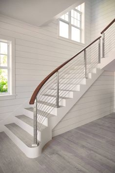 See how Viewrail transforms an open concept home with modern staircases & railings. Find new Stair & Deck Railing Ideas now! Modern Staircase Railing, Wrought Iron Stair Railing, Stair Banister, Staircase Railings, Modern Stairs, Staircases, Staircase Ideas, Glass Railing, Spiral Staircase