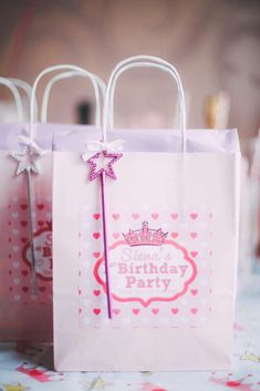 Princess favors at a girl birthday party!  See more party planning ideas at CatchMyParty.com!