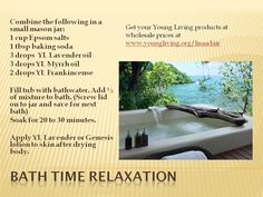 Need some bath time relaxation for yourself or a child? Here is a recipe using #youngliving Frankincense, Myrrh and Lavender Oils. Do you want 27% off retail prices? Order with your free wholesale membership at www.youngliving.org/lisaadair
