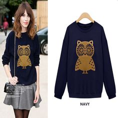 New Design Fashion Brand Printed Owls T Shirt Women Long Sleeve Cotton T-Shirt Lady Knitted Casual Novelty Plus Size Tops