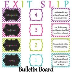 Exit Slip Bulletin Board Set