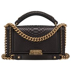 87e297010907 Chanel Black Python Medium Boy Bag with Handle