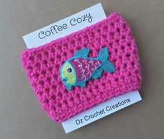 A personal favorite from my Etsy shop https://www.etsy.com/listing/261092527/coffee-cozy-crochet-coffee-cozy-fish