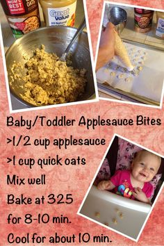 """""""Baby / Toddler snacks. Applesauce oatmeal bites. 1/2 c applesauce. 1 c oatmeal. Mix well. I used an icing applicator to make them """"bite sized"""" bake for 8-10 min on parchment paper. Let cool. My little one loves them!"""""""