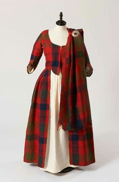 Isabella MacTavish's Wedding Dress Fraser clan tartan. The cloth itself is probably considerably older than the dress, and possibly dates to 1740 – Tartan Wedding Dress, Scottish Wedding Dresses, Scottish Dress, Scottish Clothing, Scottish Fashion, Tartan Dress, Scottish Costume, Scottish Kilts, Scottish Plaid