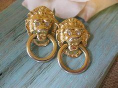 Avon Kenneth J Lane Lion Head Doorknocker Earrings