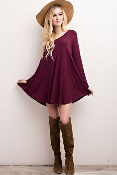 """""""Nelly"""" V-Neck Long Sleeve Dress (+More Colors)"""