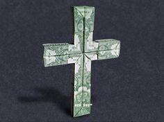 3D CROSS Money Origami - Dollar Bill Art