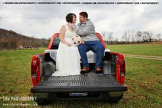 bride and groom wedding pick up truck photography