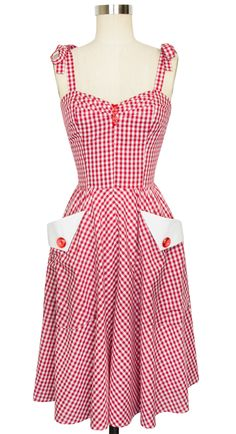Trashy Diva Lucy Dress   Vintage Inspired Dress   Red Gingham