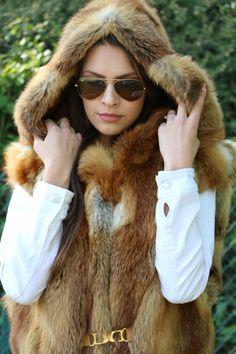 Pelzweste Fuchsweste mit Kapuze Rotfuchs Fellweste Fox gr.38-40 Traum in Kleidung & Accessoires, Damenmode, Westen | eBay