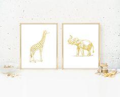 Giraffe & Elephant Set of 2 Matte Gold Art Prints  by BySamantha