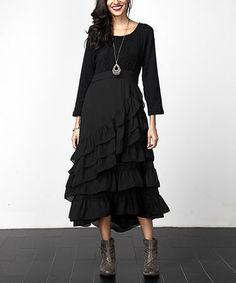 Love this Black Cable-Knit Chiffon Ruffle Maxi Dress on #zulily! #zulilyfinds