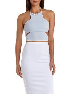 Cut-Out Racer Front Halter Top: Charlotte Russe