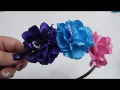 Como decorar Diademas con flores de tela,How to decorate Diademas with fabric flowers, - YouTube Satin Flowers, Love Flowers, Diy Flowers, Fabric Flowers, Couple Pillowcase, Baby Hair Bands, Flower Video, Ribbon Crafts, Ribbon Embroidery