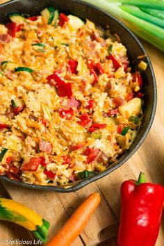 Multi Colored Scrambled Eggs Skillet with Vegetables Recipe