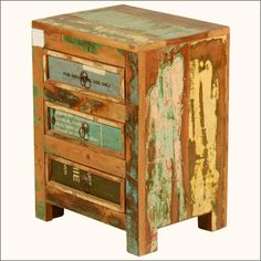 Industrial Labels Reclaimed Wood 3-drawer Nightstand Mini Dresser