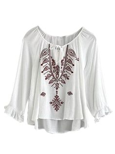 ee972853b398 Joeoy Women s White Embroidered 3 4 Sleeve High Low Bohemian Blouse Shirt  Burgundy L US 8 at Amazon Women s Clothing store